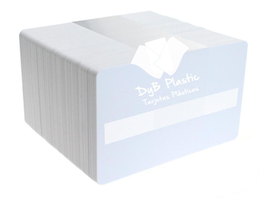 Tarjetas pvc blancas con panel firma